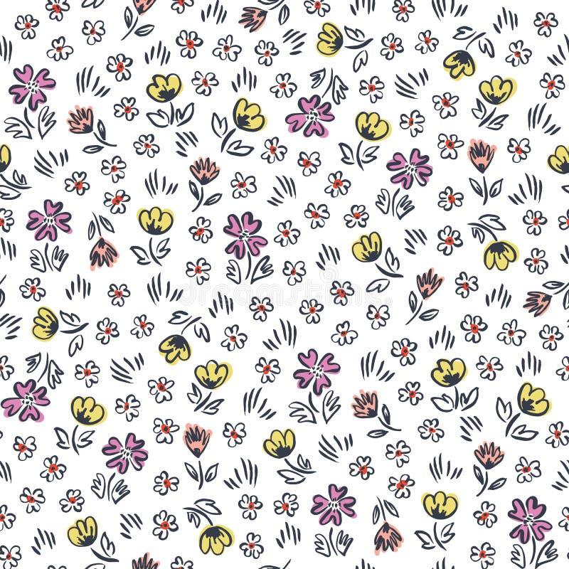 Flores a mano abstractas ditsy lindas en modelo inconsútil del vector blanco del fondo Impresión floral caprichosa de pascua stock de ilustración