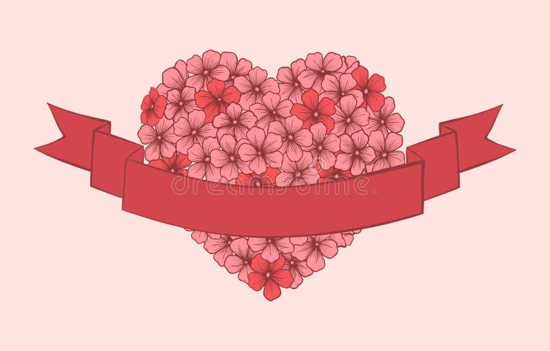 Flores, a mano en el estilo gráfico, presentado en la forma de un corazón con la cinta para una inscripción en el primero plano. stock de ilustración