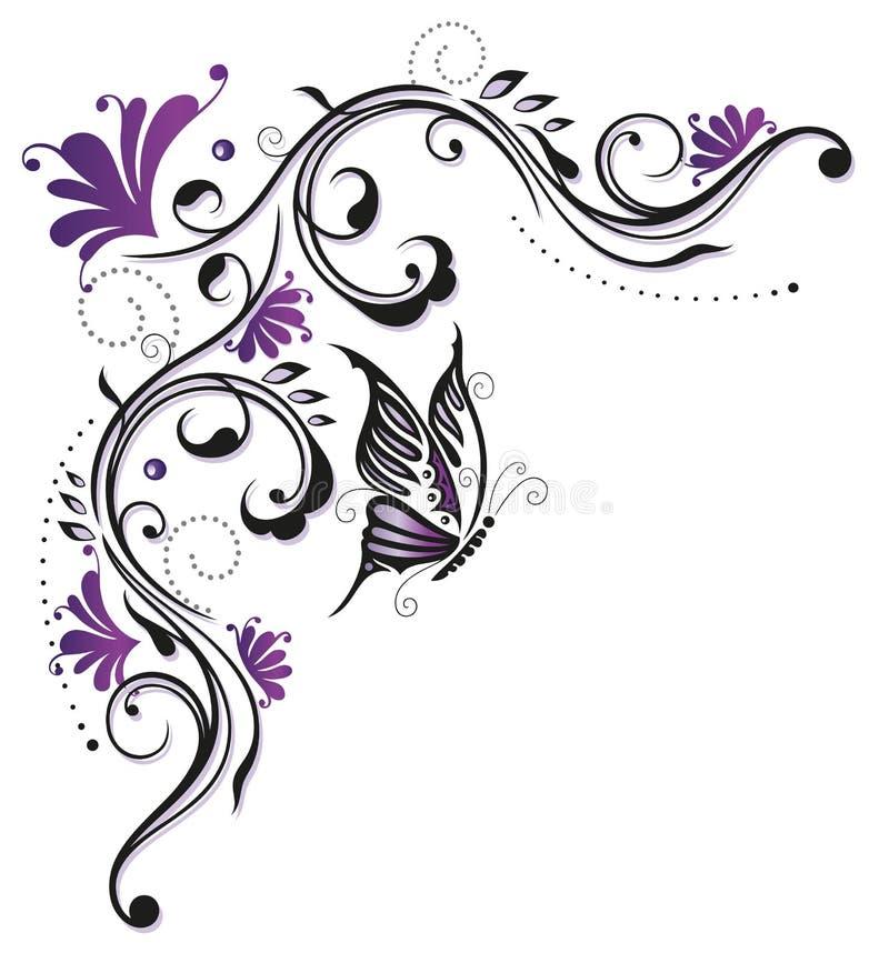 Flores, mariposa, abstracta libre illustration