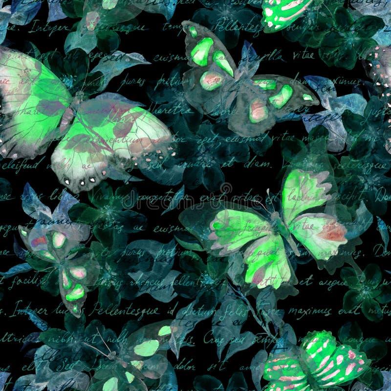 Flores, mariposas de la noche, letra del texto escrito de la mano watercolor Modelo inconsútil en el fondo negro imágenes de archivo libres de regalías
