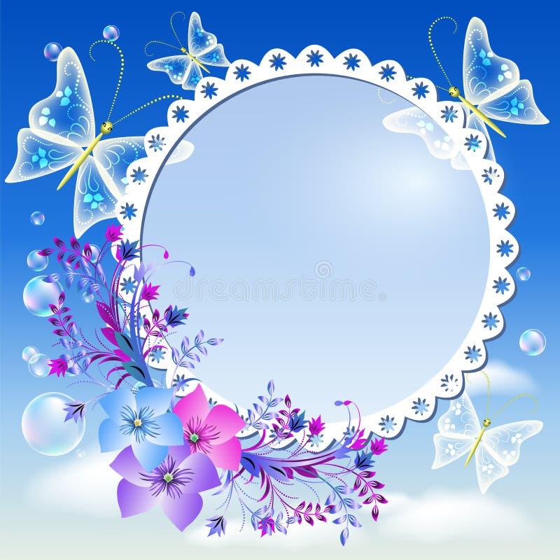 Flores, mariposas en el cielo y marco de la foto ilustración del vector