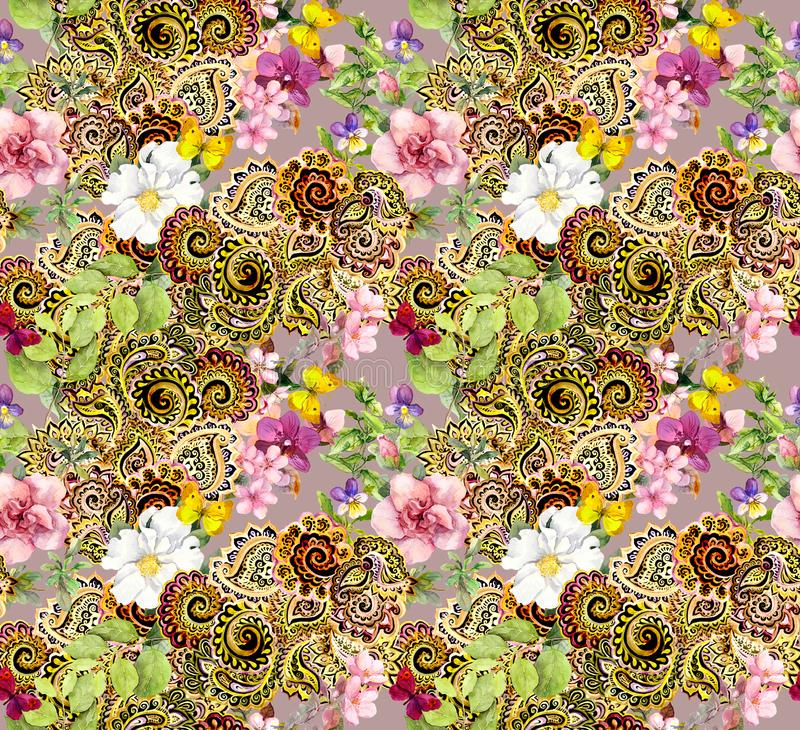 Flores, mariposas, ornamento indio de oro enorme Modelo inconsútil de la acuarela libre illustration