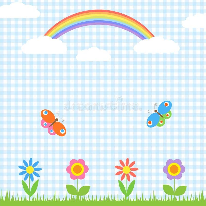 Flores, mariposas y arco iris stock de ilustración