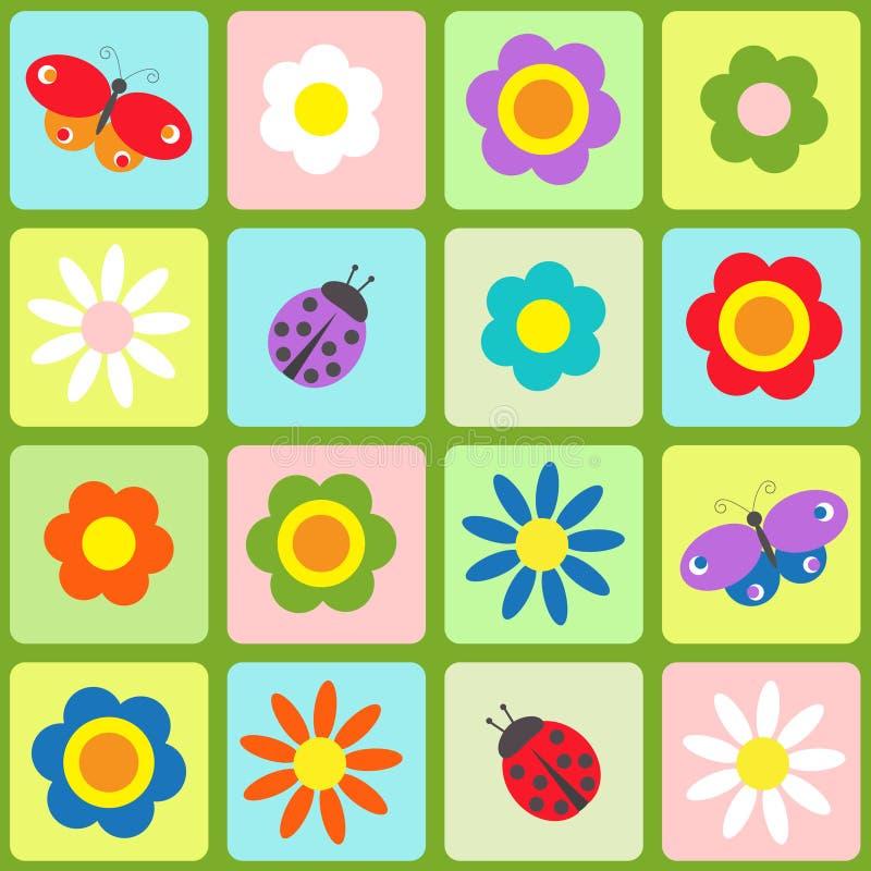 Flores, mariposas y ladybugs libre illustration