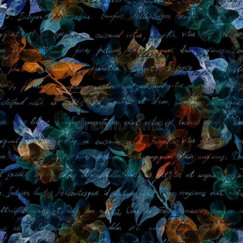 Flores misteriosas da noite, texto escrito mão da letra Fundo preto Teste padrão sem emenda imagens de stock royalty free