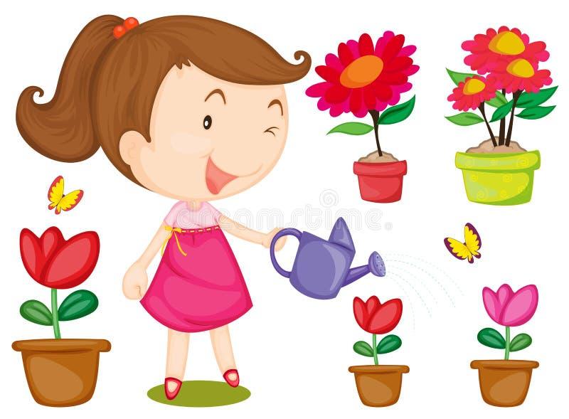 Flores molhando da menina ilustração do vetor