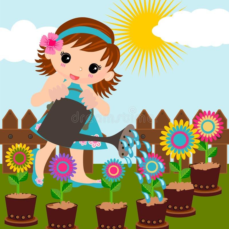 Flores molhando da menina ilustração royalty free