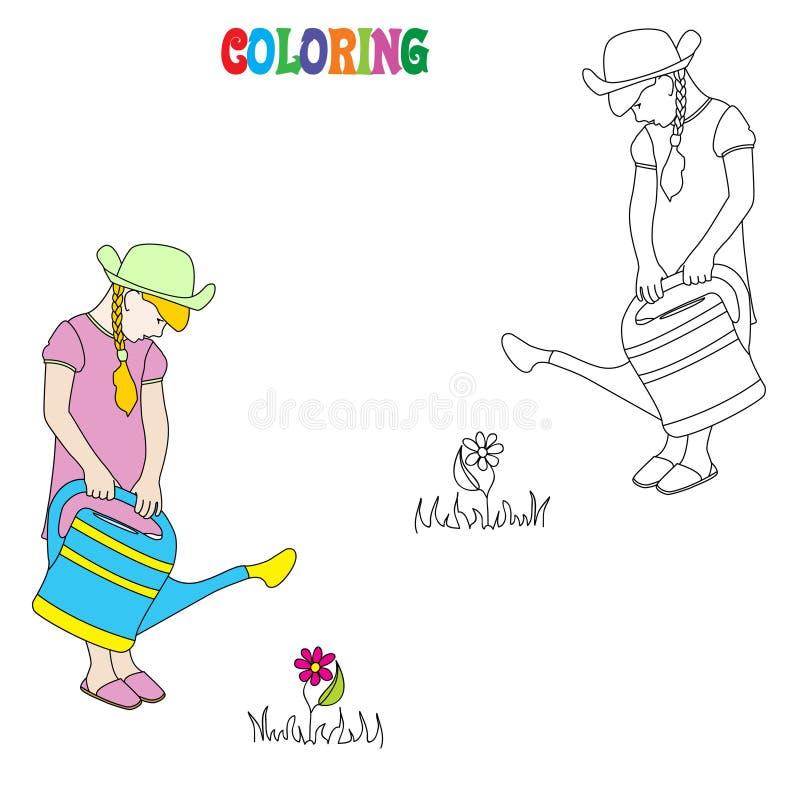Flores molhando da menina Livro para colorir para crianças ilustração royalty free