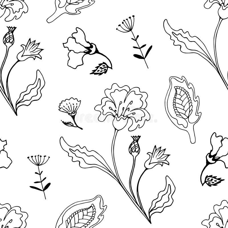 Flores monocromáticas florales adornadas de la fantasía del ejemplo del vector del modelo inconsútil stock de ilustración