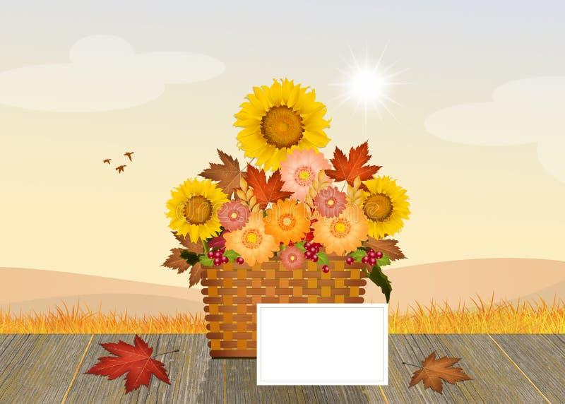 Flores na cesta ilustração stock