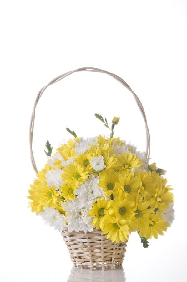 Flores na cesta no branco fotografia de stock
