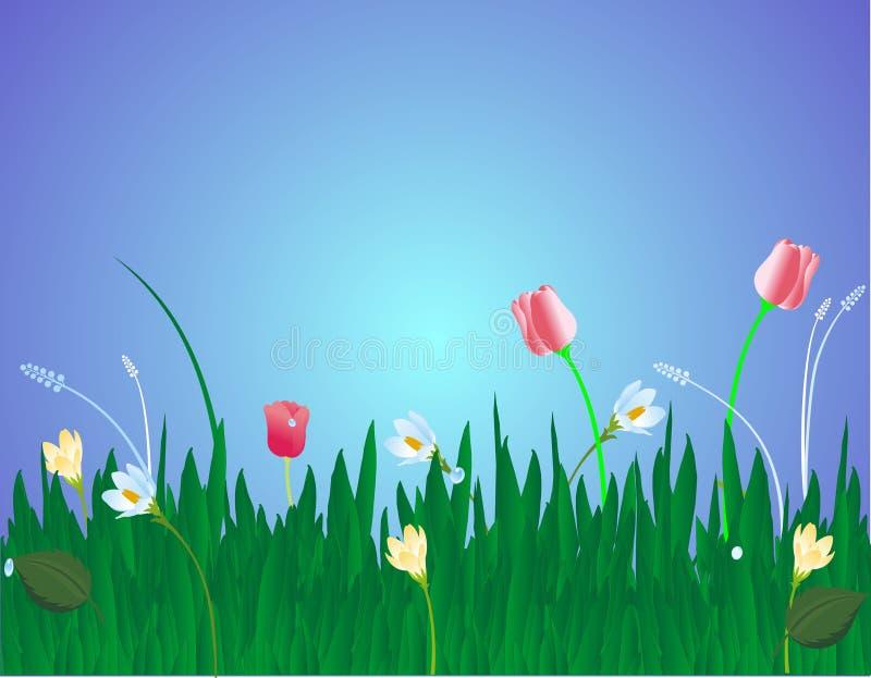 Flores na ilustração da grama