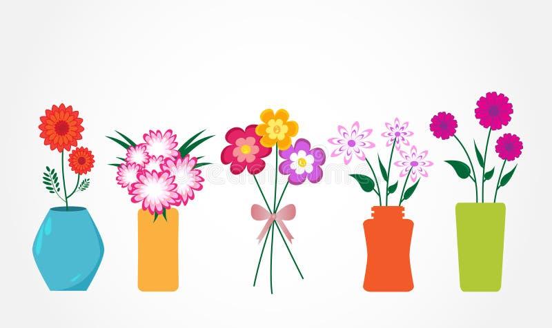 Flores na ilustração do vetor dos vasos fotografia de stock