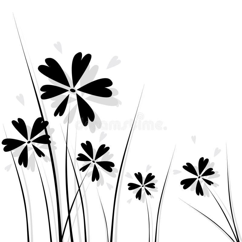 Flores negras stock de ilustración