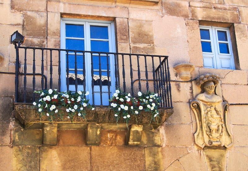 Flores no balcão de pedra do laço do ferro da casa, Barcelona, Espanha imagens de stock
