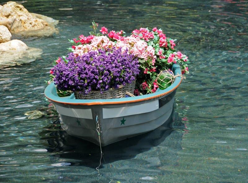 Flores no barco velho imagem de stock royalty free