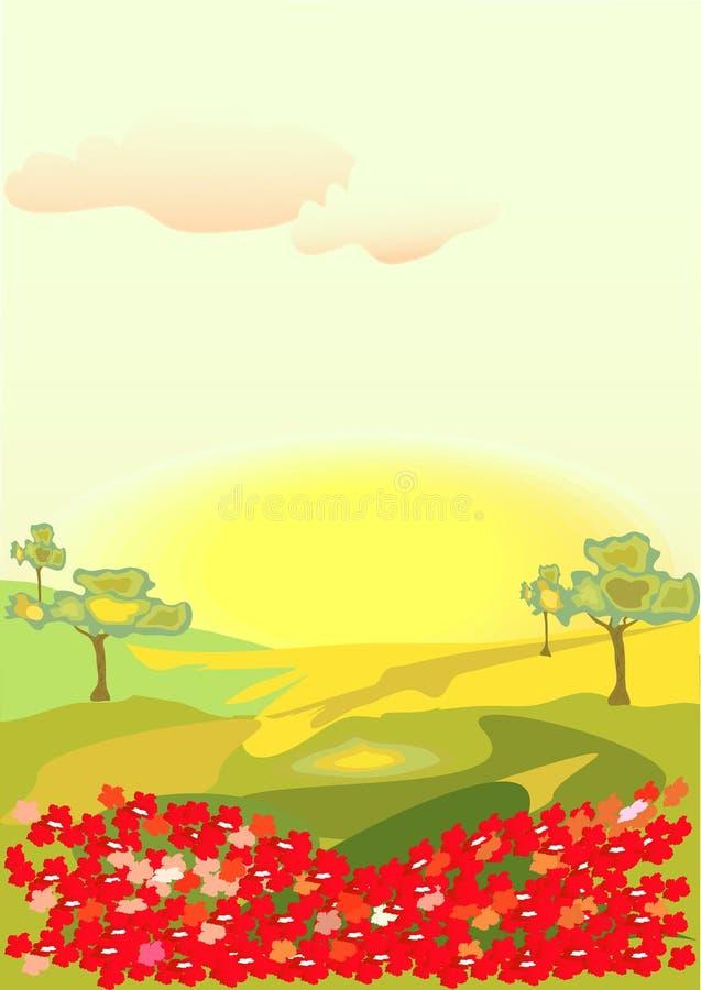Flores no campo ilustração do vetor