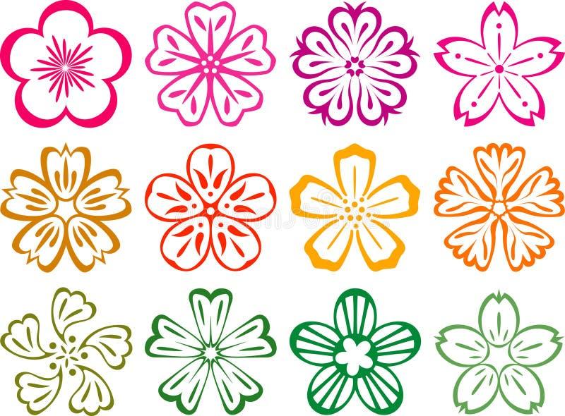 Flores no estilo de Japnese e de chinês ilustração royalty free