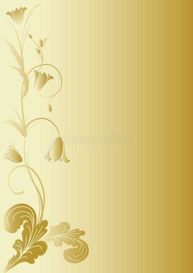 Flores no fundo do ouro ilustração do vetor