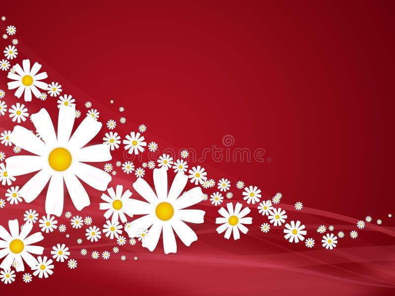 Flores no fundo vermelho ilustração do vetor