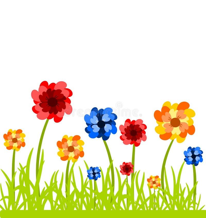 Flores no prado ilustração do vetor