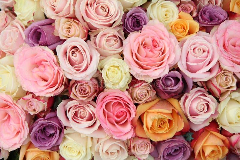 Flores nupciais em máscaras pasteis fotos de stock