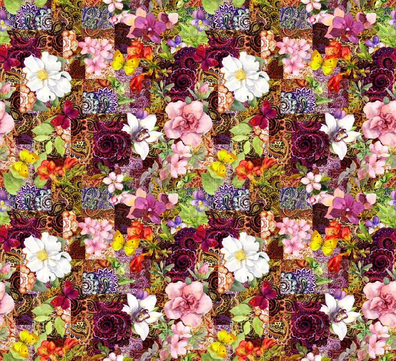 Flores, ornamento indiano Teste padrão sem emenda da aquarela ilustração stock