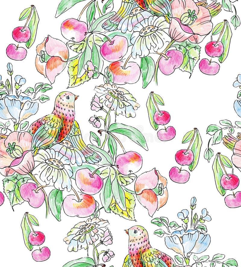 Flores, pássaro e maçãs decorativos ilustração do vetor