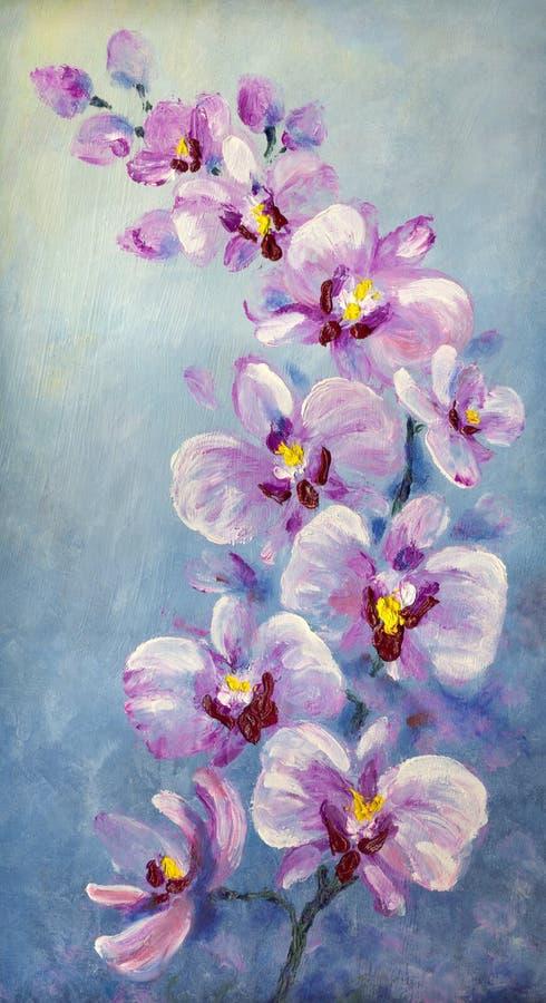 Flores púrpuras coloridas de la orquídea Pintura al óleo ilustración del vector