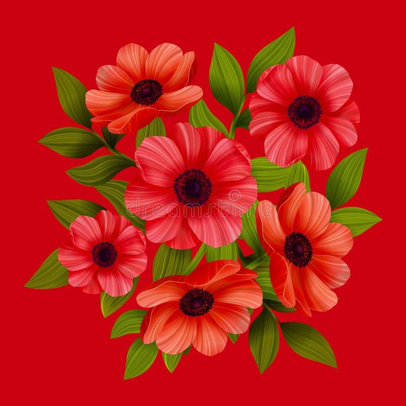 Flores Papoilas vermelhas no fundo vermelho Ilustra??o do vetor ilustração stock