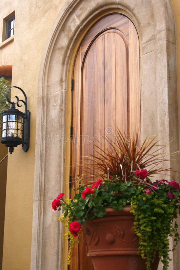 Flores pela porta de madeira imagem de stock royalty free