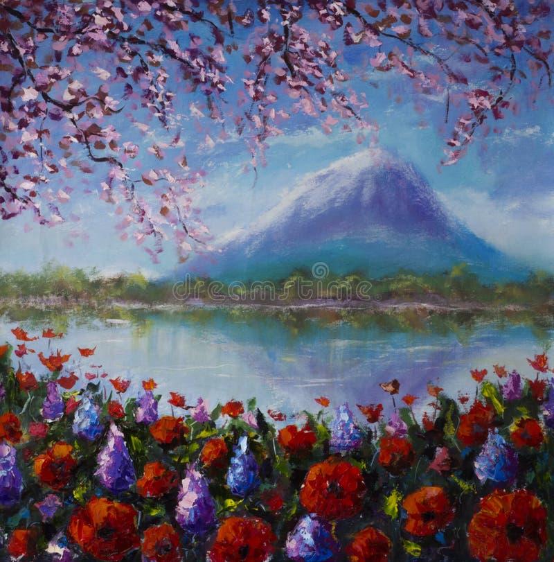 Flores pelo lago em um fundo das montanhas ilustração stock
