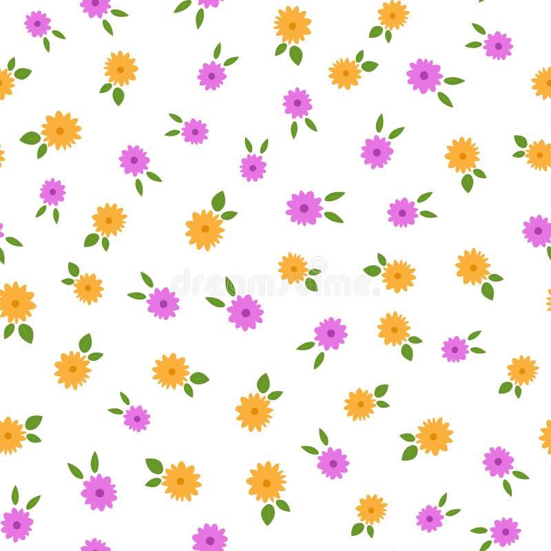 Flores pequenas aleatoriamente dispersadas com folhas Teste padrão sem emenda floral colorido ilustração royalty free