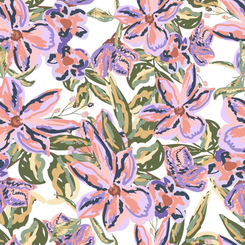 Flores pintadas fondo inconsútil del vector en estilo de la acuarela ilustración del vector