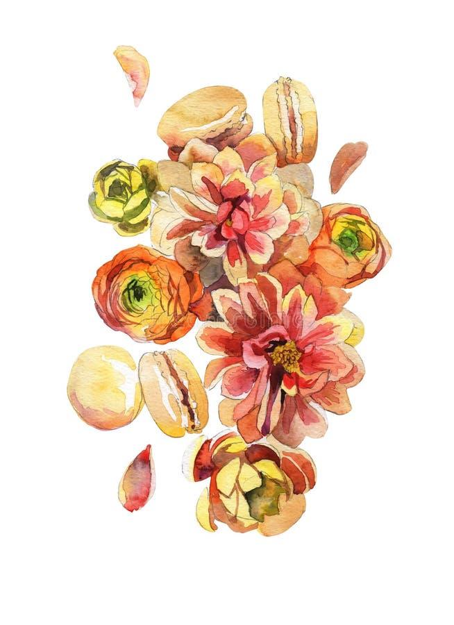 Flores pintados ? m?o da aquarela imagem de stock