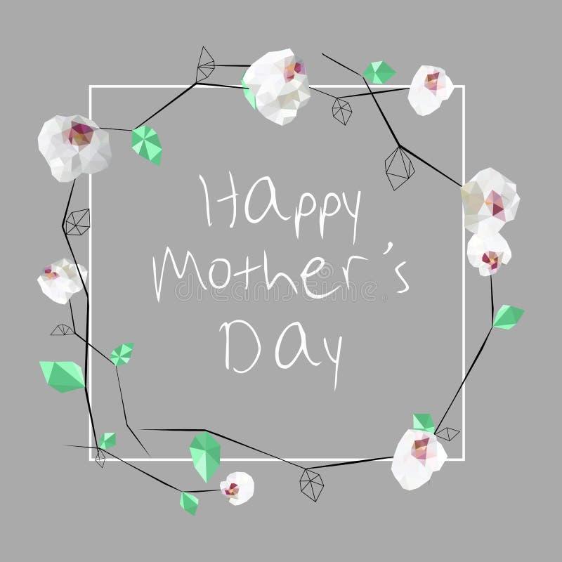 Flores polivinílicas bajas de las orquídeas del estilo Tarjeta de felicitación, el día de madre, invitación libre illustration