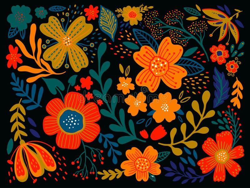 Flores populares selvagens do ethno floral no fundo preto Ajuste do ramalhete do estilo country Chique rústico Uso para o projeto ilustração royalty free