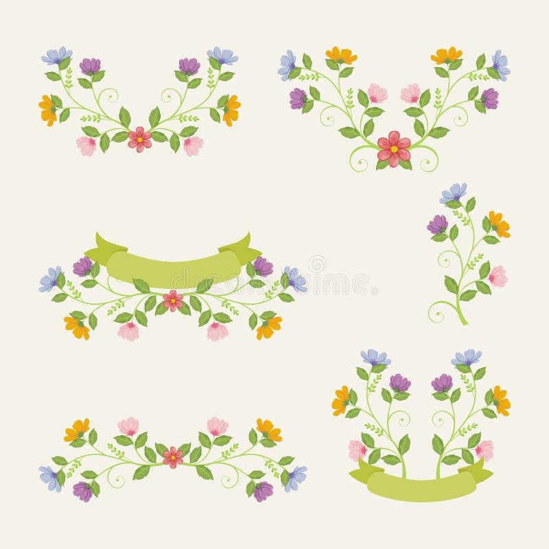Flores preciosas - diseño floral de la guirnalda ilustración del vector