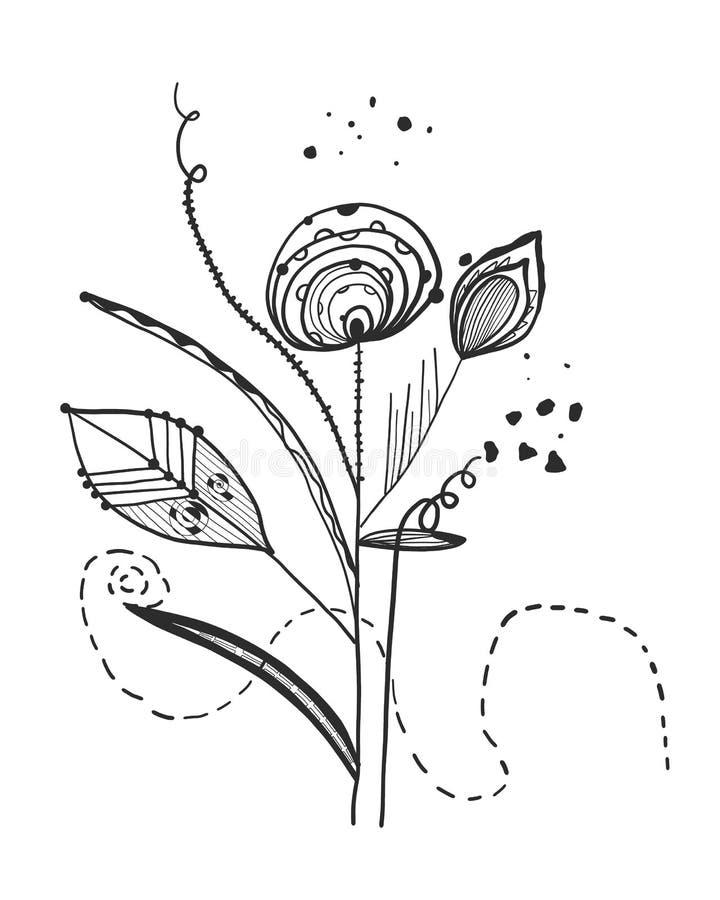 Flores pretas abstratas das horas de verão Teste padrão abstrato do design floral do vetor do projeto da tatuagem ilustração stock
