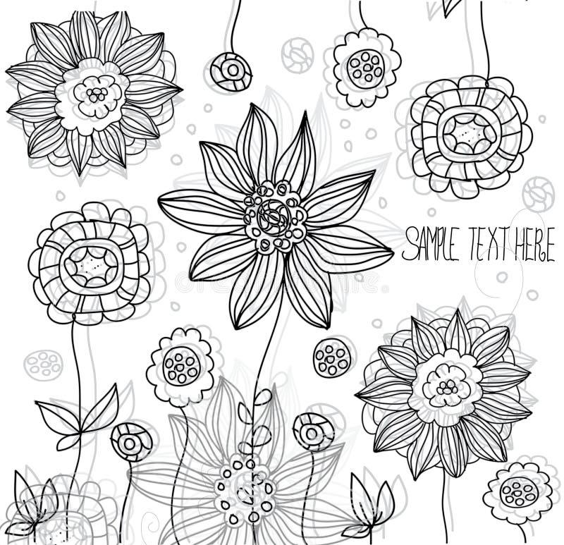 Flores preto e branco ilustração royalty free