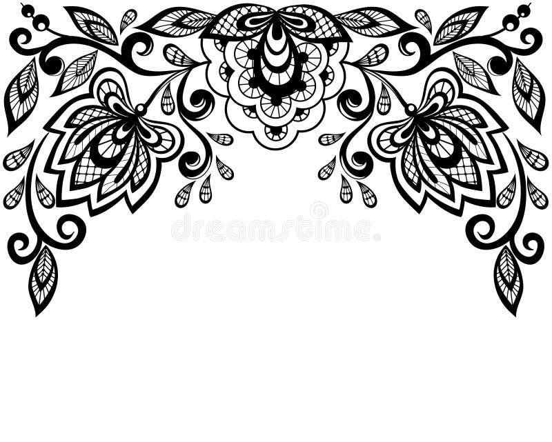 Flores preto e branco e folhas do laço isoladas no branco ilustração stock