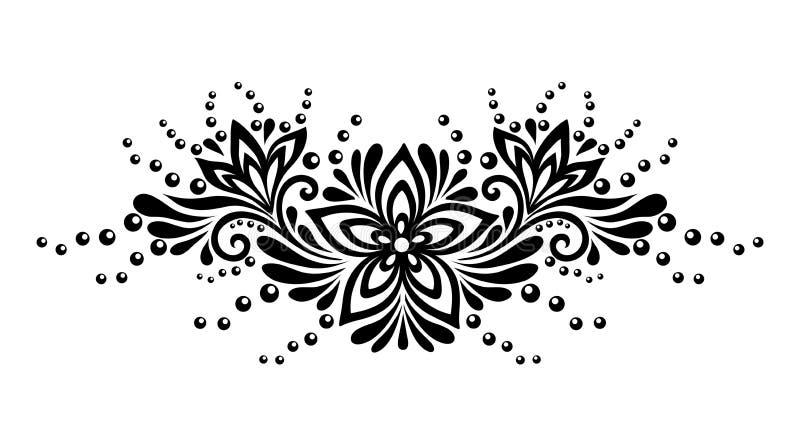 Flores preto e branco e folhas do laço isoladas no branco. Elemento do design floral no estilo retro. ilustração do vetor