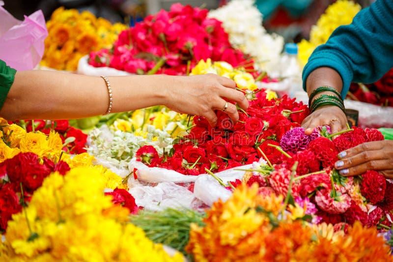Flores que compran en Bangalore fotos de archivo libres de regalías