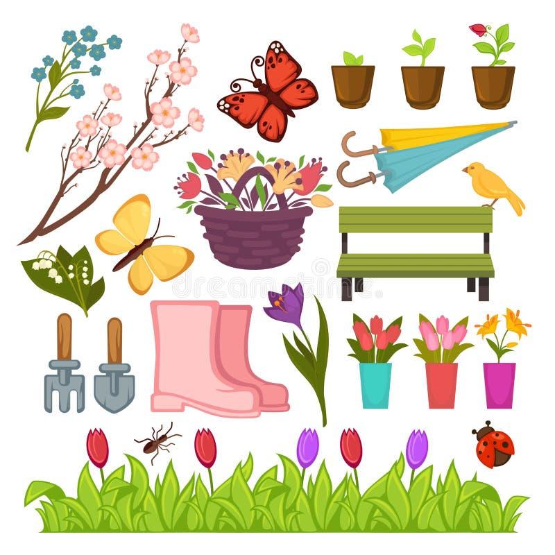 Flores que cultivan un huerto de la primavera y establecimiento de los iconos del vector de las herramientas fijados ilustración del vector