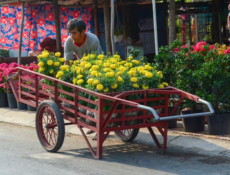 Flores que llevan de un hombre al mercado en Tien Giang, Vietnam imagen de archivo
