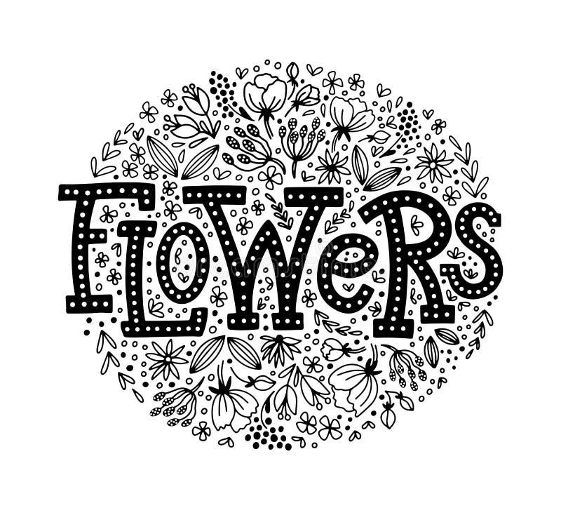 Flores que ponen letras con garabato floral stock de ilustración