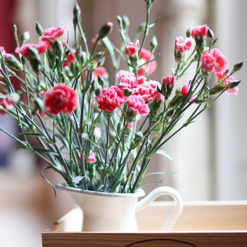Flores: ramalhete cor-de-rosa dos cravos em um jarro fotos de stock