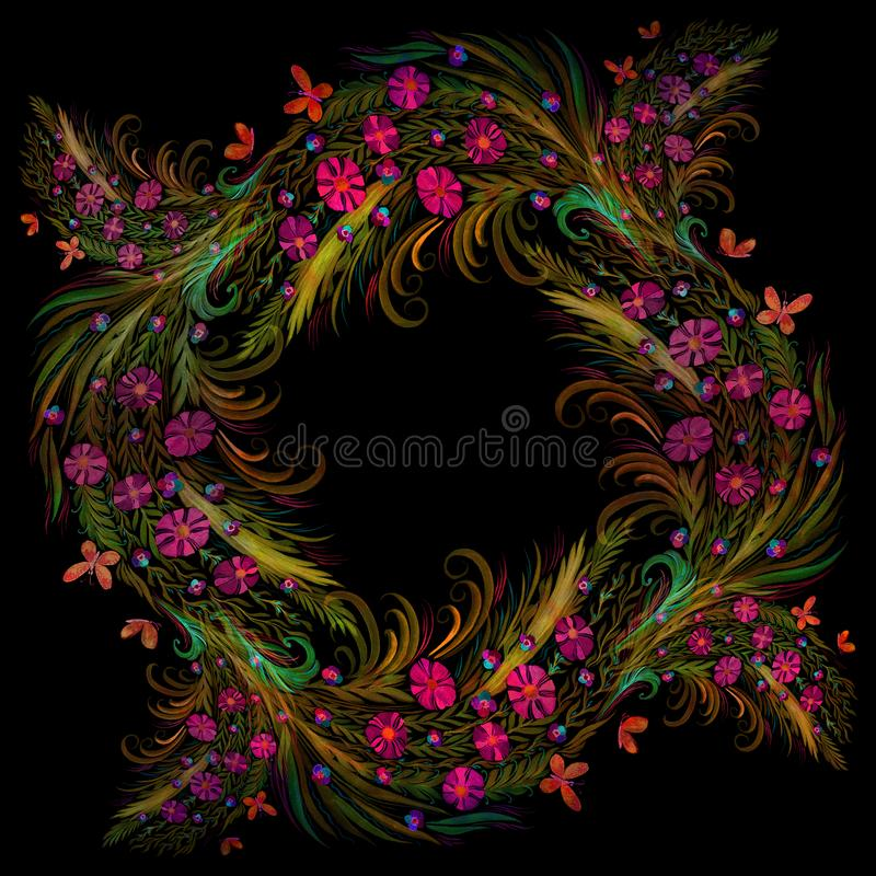 Flores Ramo con las hojas, las flores y los brotes watercolor ilustración del vector