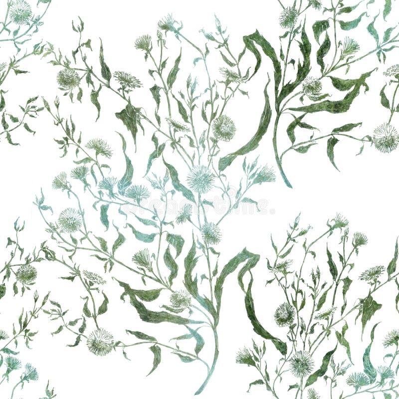 Flores Ramo con las hojas, las flores y los brotes watercolor Collage inconsútil del modelo de flores y de hojas en un backgro de stock de ilustración