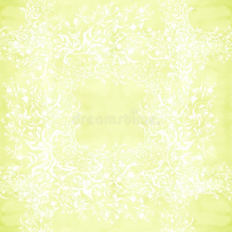 Flores Ramo con las hojas, las flores y los brotes watercolor Collage inconsútil del modelo de flores y de hojas en un backgro de libre illustration
